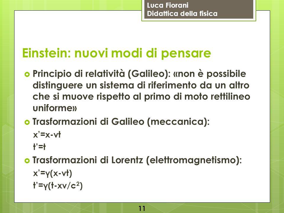 Luca Fiorani Didattica della fisica Einstein: nuovi modi di pensare  Principio di relatività (Galileo): «non è possibile distinguere un sistema di ri