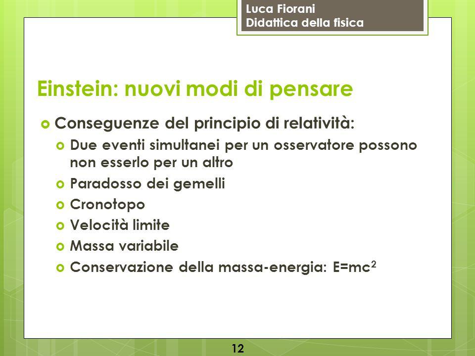 Luca Fiorani Didattica della fisica Einstein: nuovi modi di pensare  Conseguenze del principio di relatività:  Due eventi simultanei per un osservat