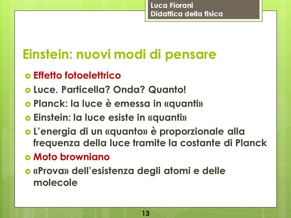 Luca Fiorani Didattica della fisica Einstein: nuovi modi di pensare  Effetto fotoelettrico  Luce. Particella? Onda? Quanto!  Planck: la luce è emes