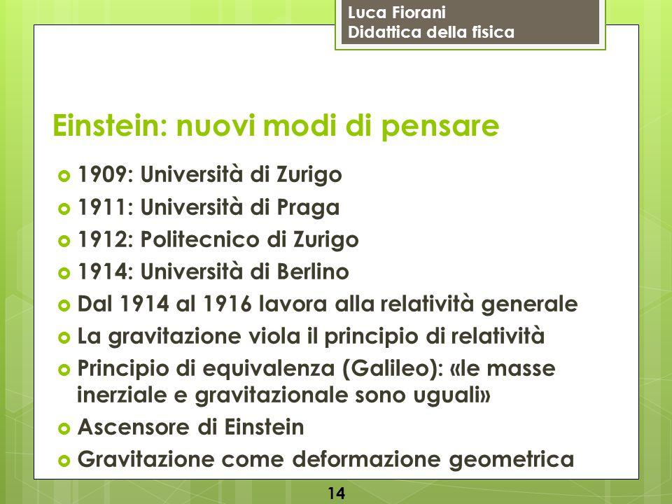 Luca Fiorani Didattica della fisica Einstein: nuovi modi di pensare  1909: Università di Zurigo  1911: Università di Praga  1912: Politecnico di Zu