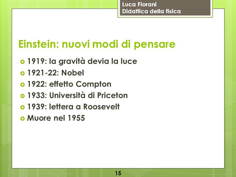 Luca Fiorani Didattica della fisica Einstein: nuovi modi di pensare  1919: la gravità devia la luce  1921-22: Nobel  1922: effetto Compton  1933: