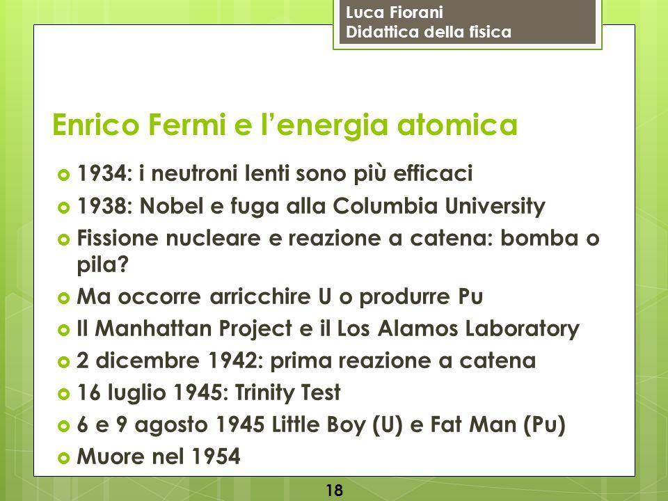 Luca Fiorani Didattica della fisica Enrico Fermi e l'energia atomica  1934: i neutroni lenti sono più efficaci  1938: Nobel e fuga alla Columbia Uni