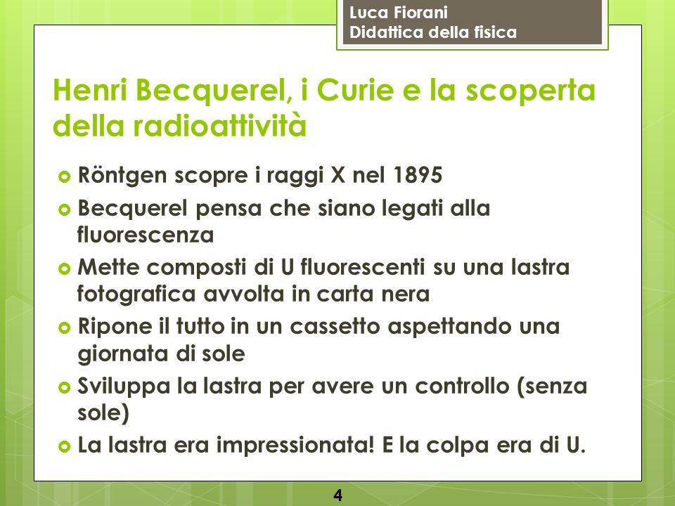 Luca Fiorani Didattica della fisica Henri Becquerel, i Curie e la scoperta della radioattività  Röntgen scopre i raggi X nel 1895  Becquerel pensa c
