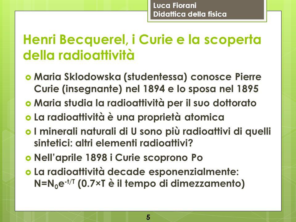 Luca Fiorani Didattica della fisica Henri Becquerel, i Curie e la scoperta della radioattività  Maria Sklodowska (studentessa) conosce Pierre Curie (