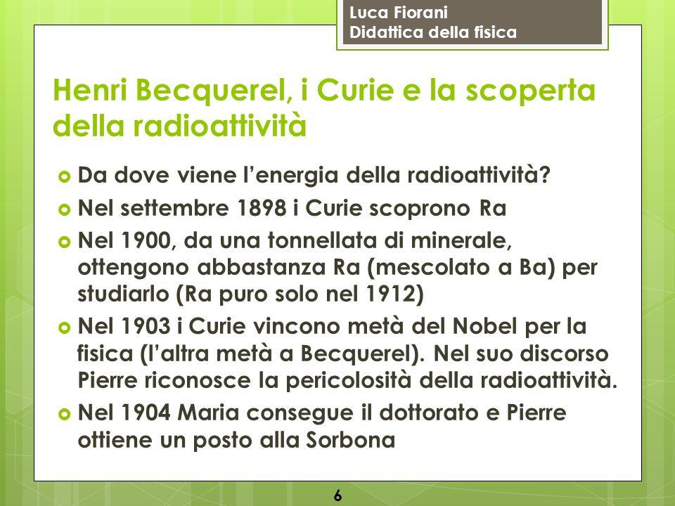 Luca Fiorani Didattica della fisica Henri Becquerel, i Curie e la scoperta della radioattività  Da dove viene l'energia della radioattività?  Nel se