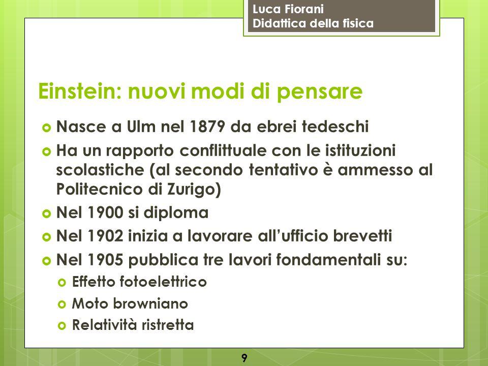 Luca Fiorani Didattica della fisica Einstein: nuovi modi di pensare  Nasce a Ulm nel 1879 da ebrei tedeschi  Ha un rapporto conflittuale con le isti