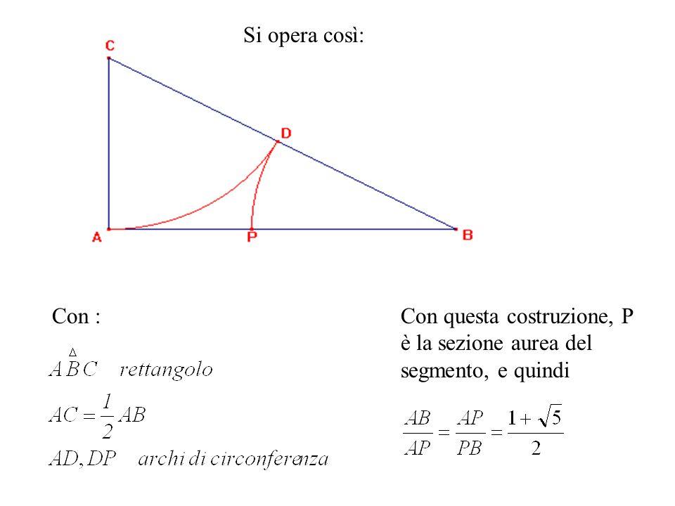 Con :Con questa costruzione, P è la sezione aurea del segmento, e quindi Si opera così: