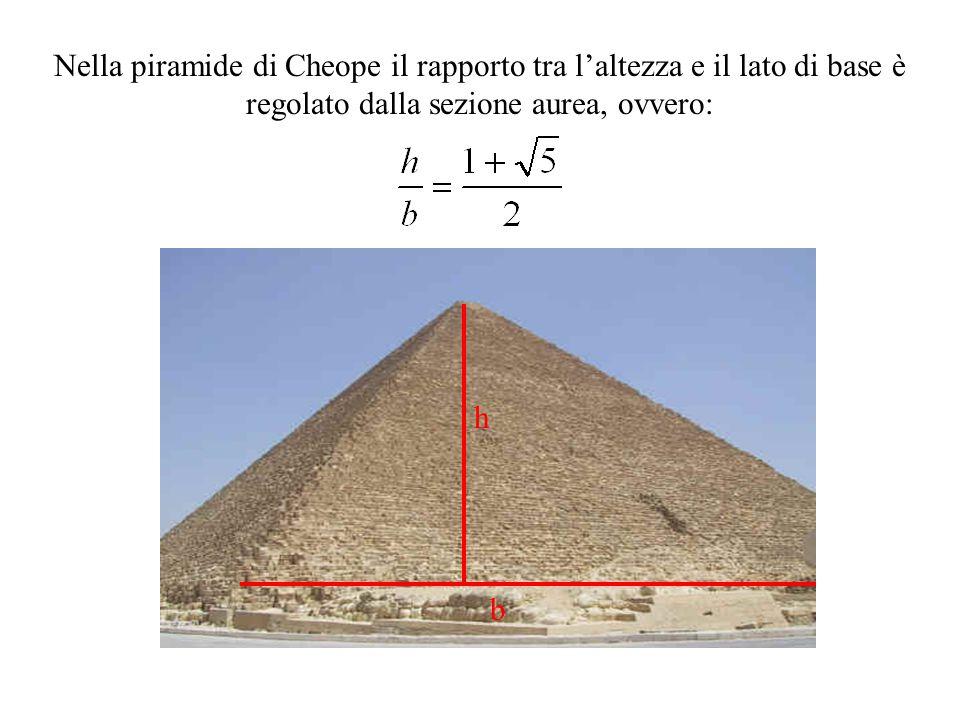 Nella piramide di Cheope il rapporto tra l'altezza e il lato di base è regolato dalla sezione aurea, ovvero: h b