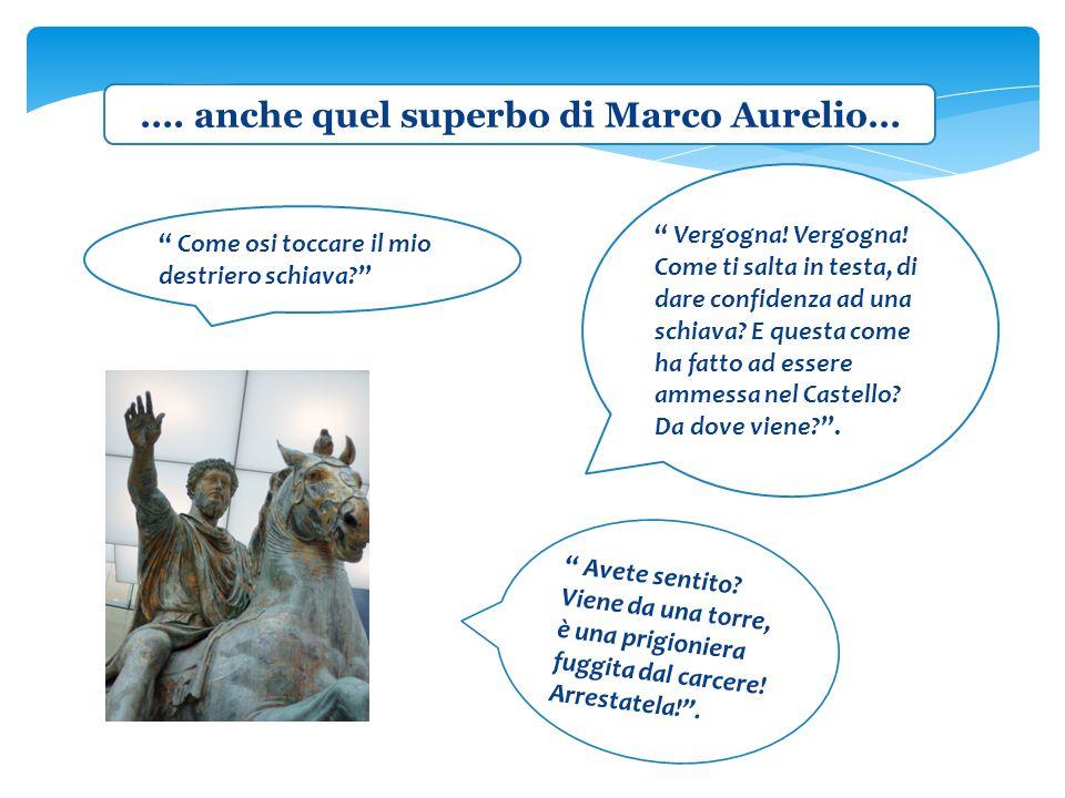 """…. anche quel superbo di Marco Aurelio… """" Come osi toccare il mio destriero schiava?"""" """" Vergogna! Vergogna! Come ti salta in testa, di dare confidenza"""