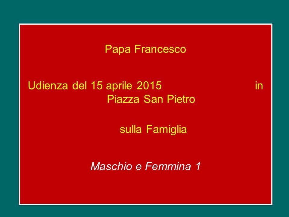 Papa Francesco Udienza del 15 aprile 2015 in Piazza San Pietro sulla Famiglia Maschio e Femmina 1 Papa Francesco Udienza del 15 aprile 2015 in Piazza San Pietro sulla Famiglia Maschio e Femmina 1
