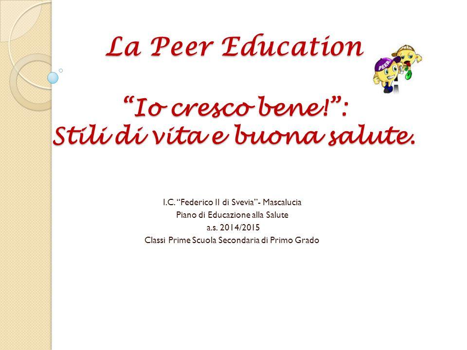 La peer education – educazione tra pari Si tratta di una metodologia in cui la comunicazione tra i pari avviene ad un livello che per molti aspetti è più efficace rispetto alla comunicazione tra adulti e ragazzi.