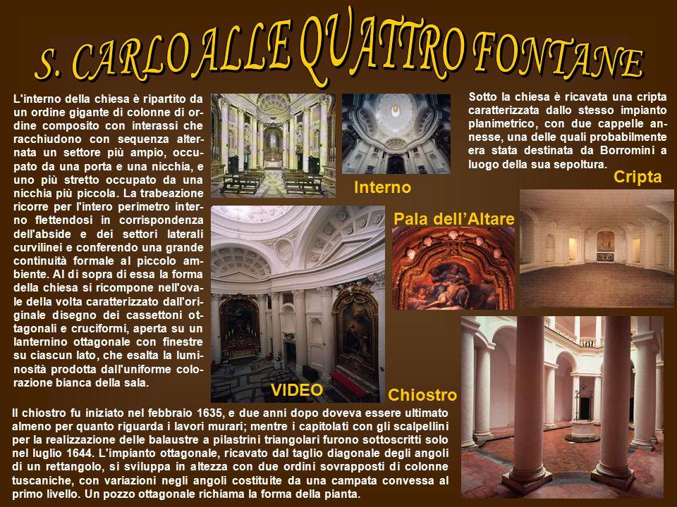 L'interno della chiesa è ripartito da un ordine gigante di colonne di or- dine composito con interassi che racchiudono con sequenza alter- nata un set