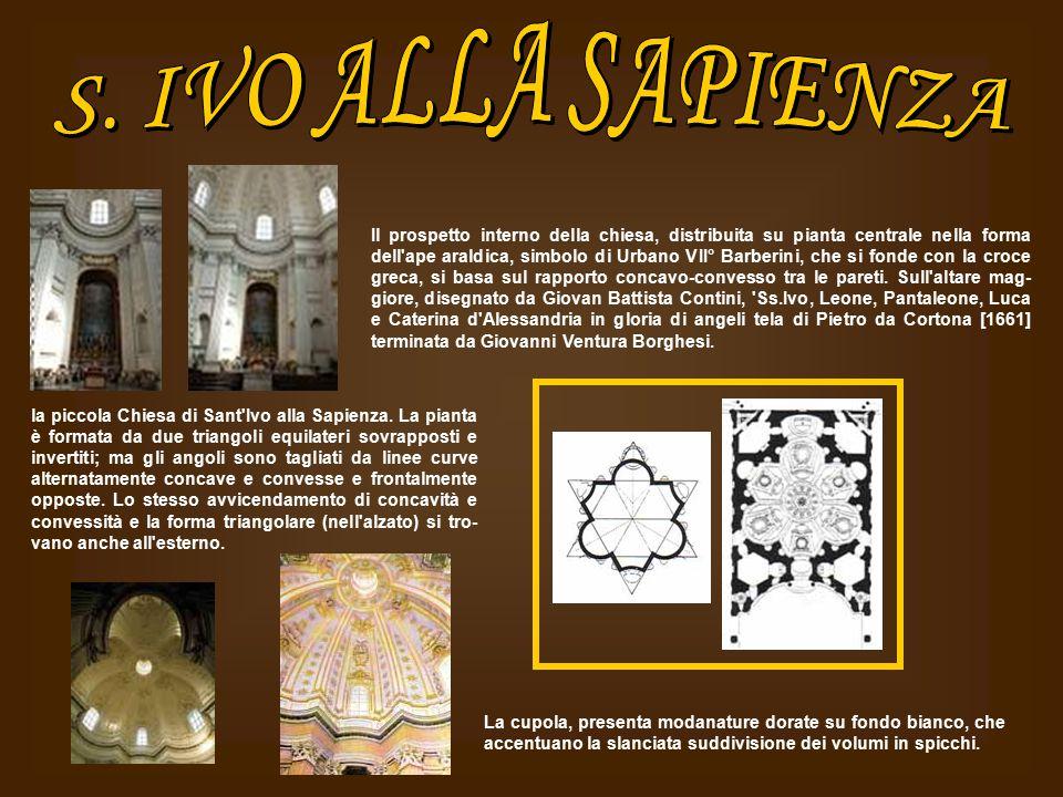 Il prospetto interno della chiesa, distribuita su pianta centrale nella forma dell'ape araldica, simbolo di Urbano VII° Barberini, che si fonde con la