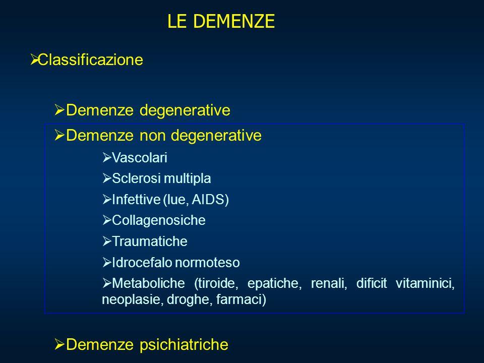 LE DEMENZE  Classificazione  Demenze degenerative  Demenze non degenerative  Vascolari  Sclerosi multipla  Infettive (lue, AIDS)  Collagenosich