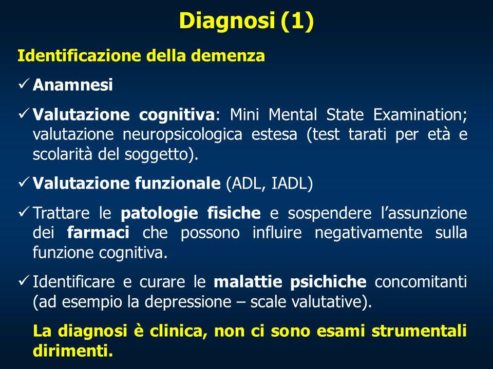 Diagnosi (1) Identificazione della demenza Anamnesi Valutazione cognitiva: Mini Mental State Examination; valutazione neuropsicologica estesa (test ta