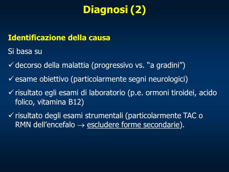 """Identificazione della causa Si basa su decorso della malattia (progressivo vs. """"a gradini"""") esame obiettivo (particolarmente segni neurologici) risult"""