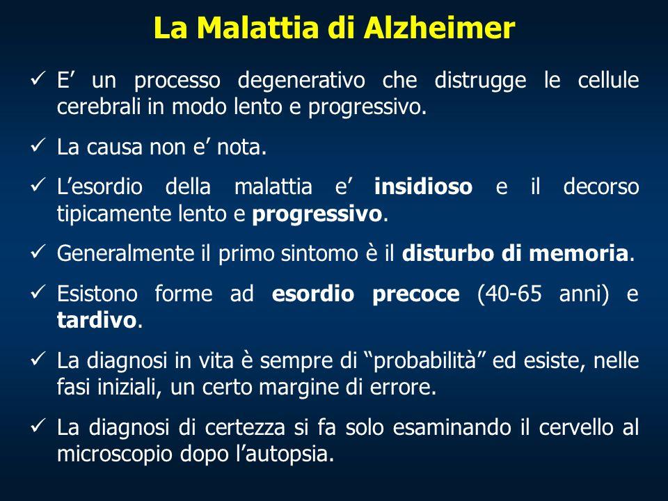 La Malattia di Alzheimer E' un processo degenerativo che distrugge le cellule cerebrali in modo lento e progressivo. La causa non e' nota. L'esordio d