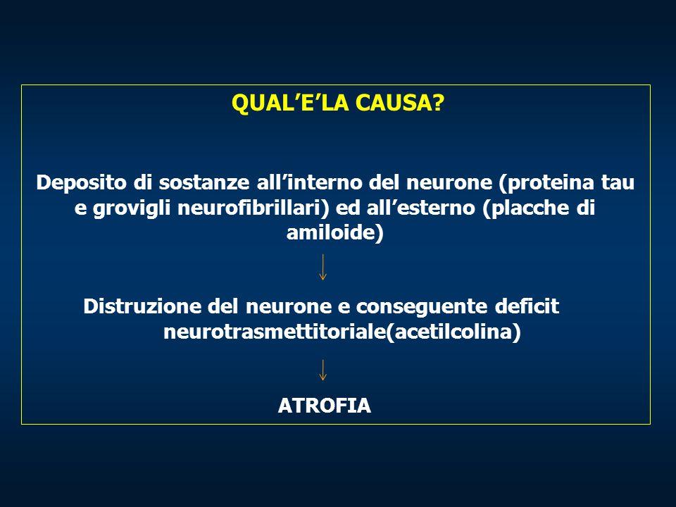 QUAL'E'LA CAUSA? Deposito di sostanze all'interno del neurone (proteina tau e grovigli neurofibrillari) ed all'esterno (placche di amiloide) Distruzio