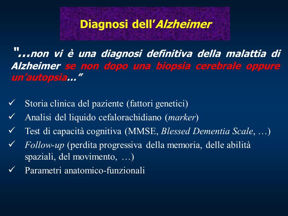 """Diagnosi dell'Alzheimer """"… non vi è una diagnosi definitiva della malattia di Alzheimer se non dopo una biopsia cerebrale oppure un'autopsia…"""" Storia"""