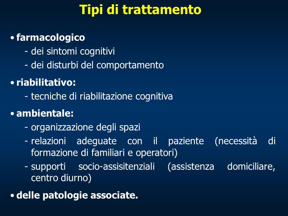 Tipi di trattamento farmacologico -dei sintomi cognitivi -dei disturbi del comportamento riabilitativo: -tecniche di riabilitazione cognitiva ambienta
