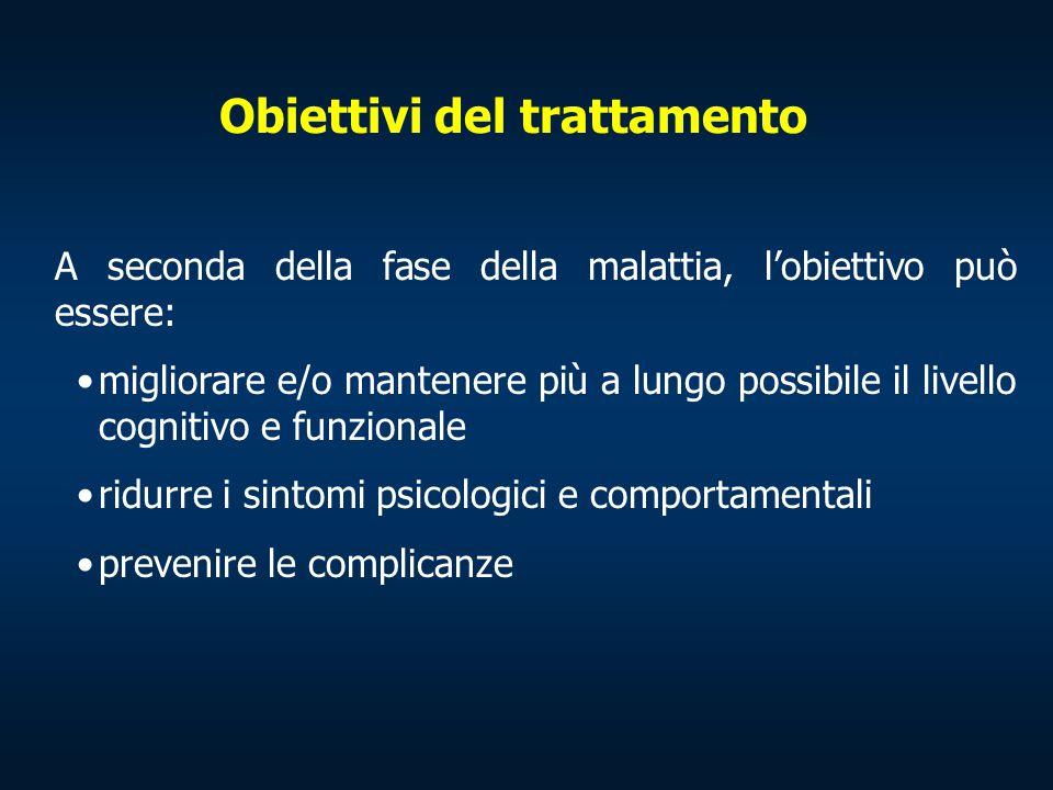 Obiettivi del trattamento A seconda della fase della malattia, l'obiettivo può essere: migliorare e/o mantenere più a lungo possibile il livello cogni