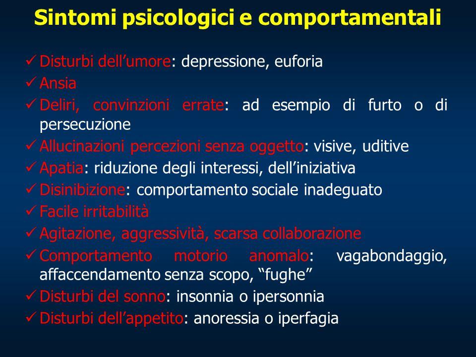 Sintomi psicologici e comportamentali Disturbi dell'umore: depressione, euforia Ansia Deliri, convinzioni errate: ad esempio di furto o di persecuzion