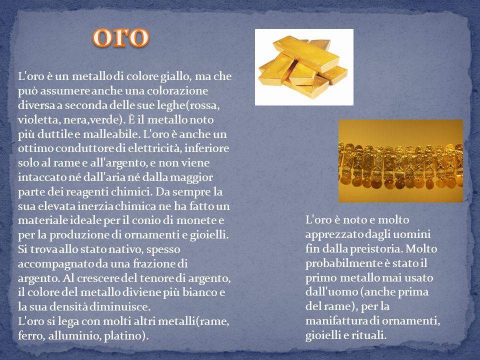 L oro è un metallo di colore giallo, ma che può assumere anche una colorazione diversa a seconda delle sue leghe(rossa, violetta, nera,verde).