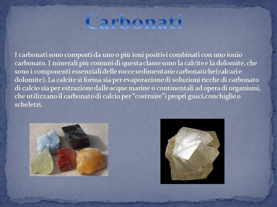 I carbonati sono composti da uno o più ioni positivi combinati con uno ionio carbonato.