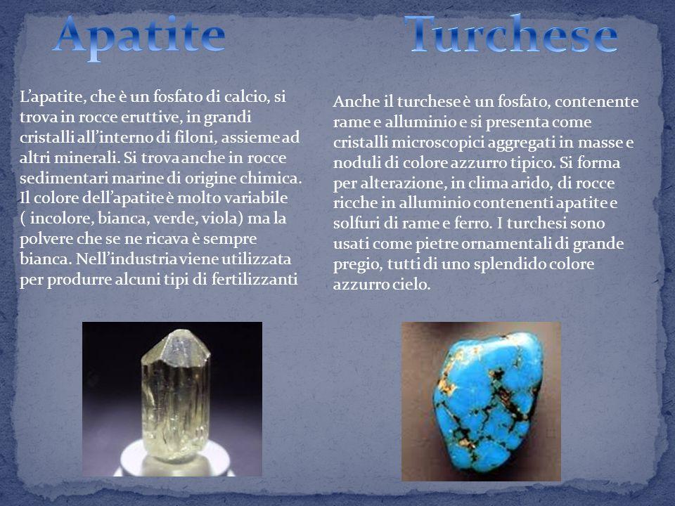 L'apatite, che è un fosfato di calcio, si trova in rocce eruttive, in grandi cristalli all'interno di filoni, assieme ad altri minerali.