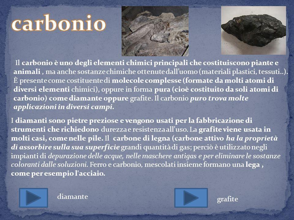 Il diamante è una delle tante forme allotropiche in cui può presentarsi il carbonio; in particolare, il diamante è costituito da un reticolo cristallino di atomi di carbonio disposti secondo una struttura tetraedrica.
