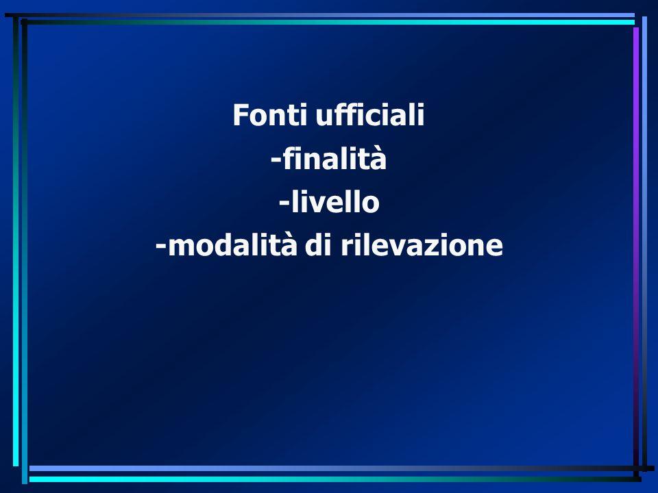 Fonti ufficiali -finalità -livello -modalità di rilevazione