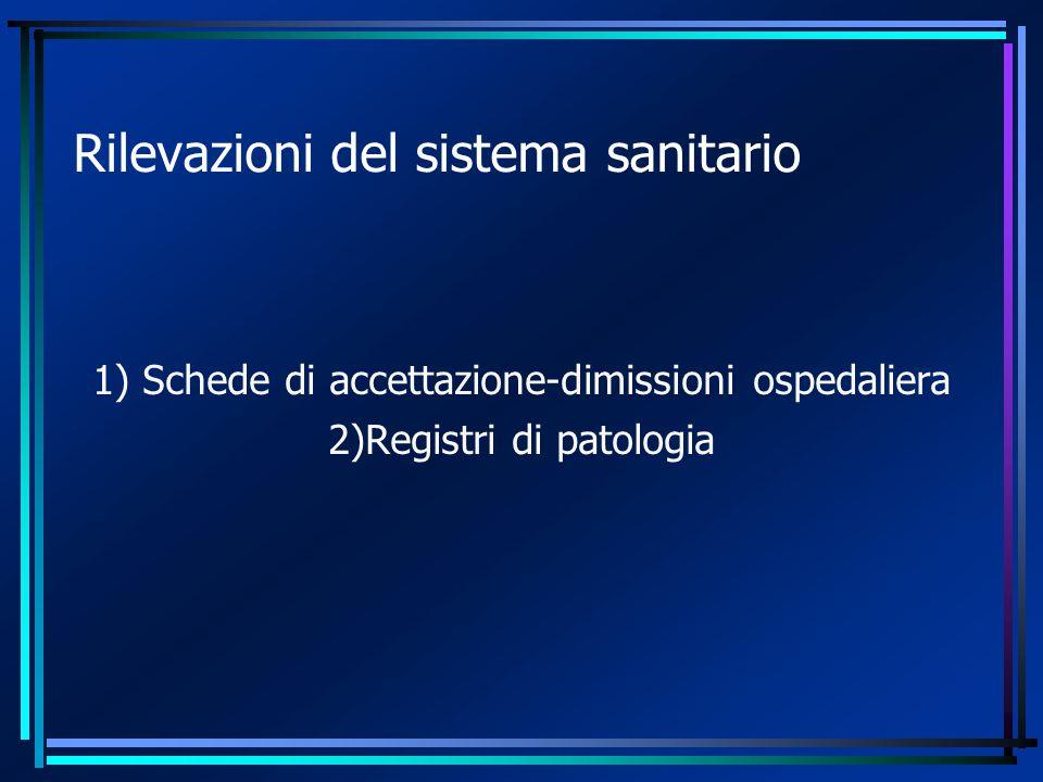 Rilevazioni del sistema sanitario 1) Schede di accettazione-dimissioni ospedaliera 2)Registri di patologia