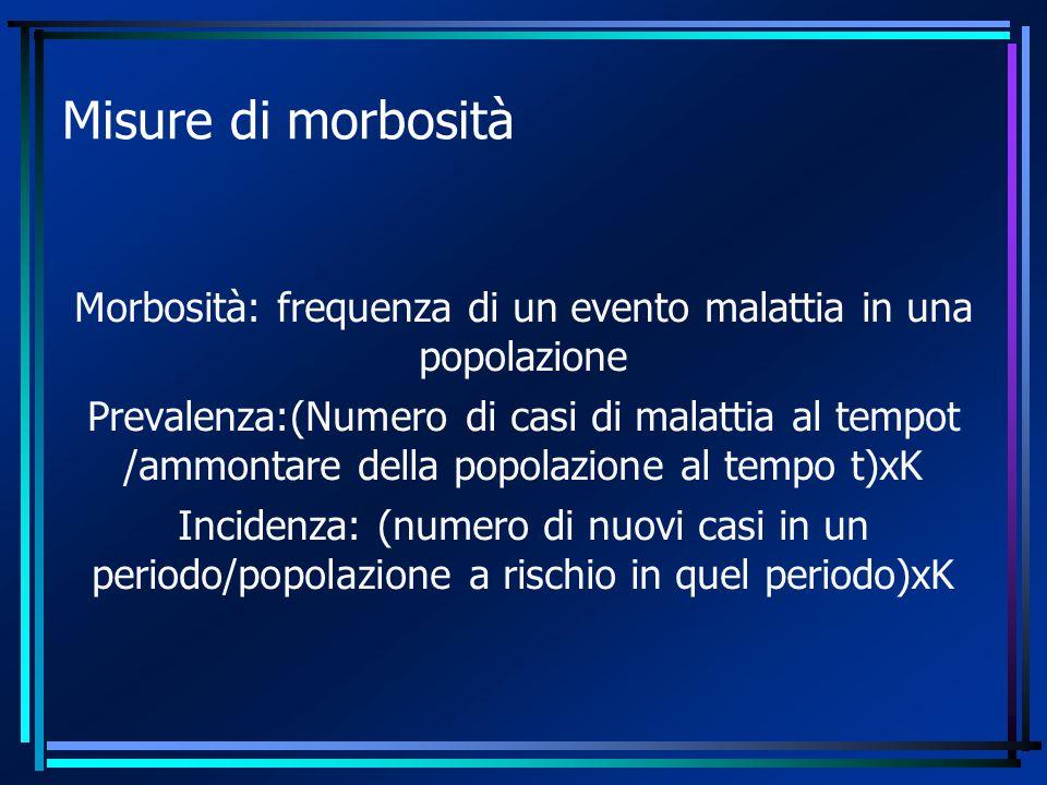 Misure di morbosità Morbosità: frequenza di un evento malattia in una popolazione Prevalenza:(Numero di casi di malattia al tempot /ammontare della popolazione al tempo t)xK Incidenza: (numero di nuovi casi in un periodo/popolazione a rischio in quel periodo)xK