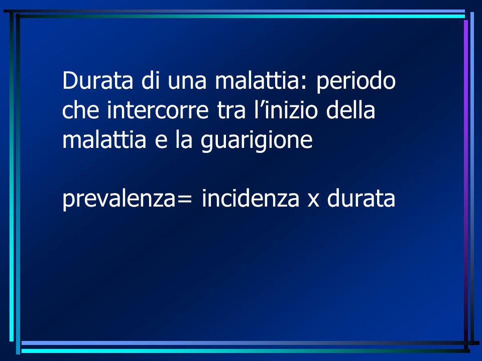 Durata di una malattia: periodo che intercorre tra l'inizio della malattia e la guarigione prevalenza= incidenza x durata