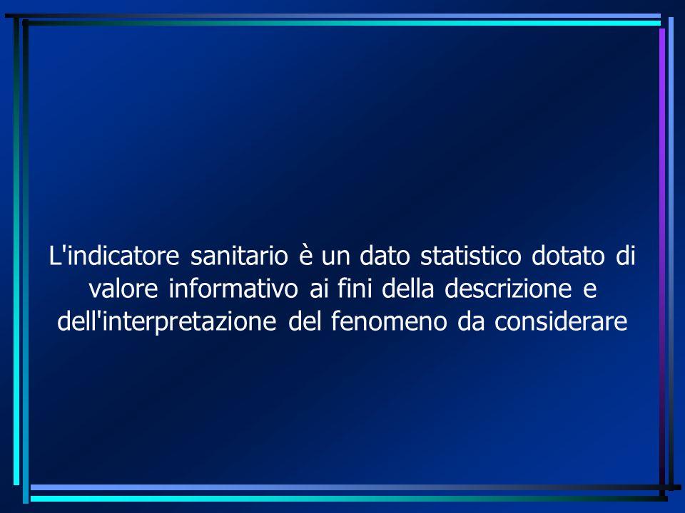 L indicatore sanitario è un dato statistico dotato di valore informativo ai fini della descrizione e dell interpretazione del fenomeno da considerare