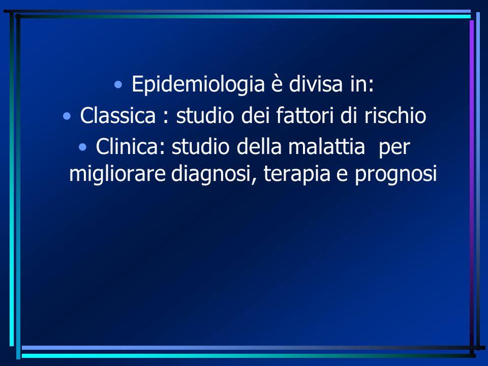 Epidemiologia è divisa in: Classica : studio dei fattori di rischio Clinica: studio della malattia per migliorare diagnosi, terapia e prognosi