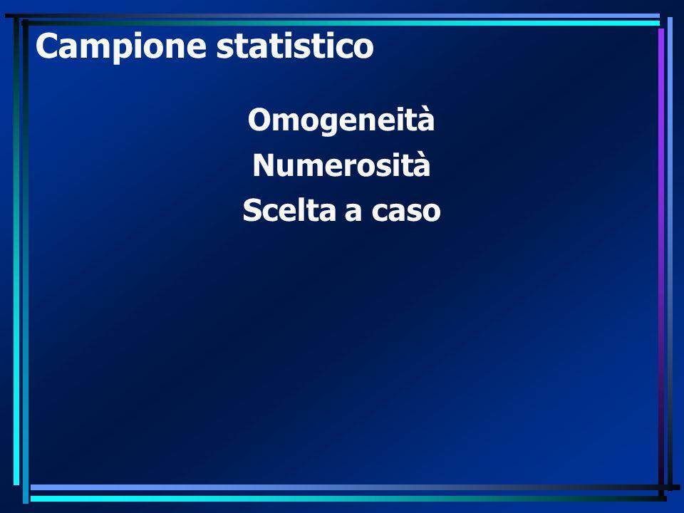 Campione statistico Omogeneità Numerosità Scelta a caso