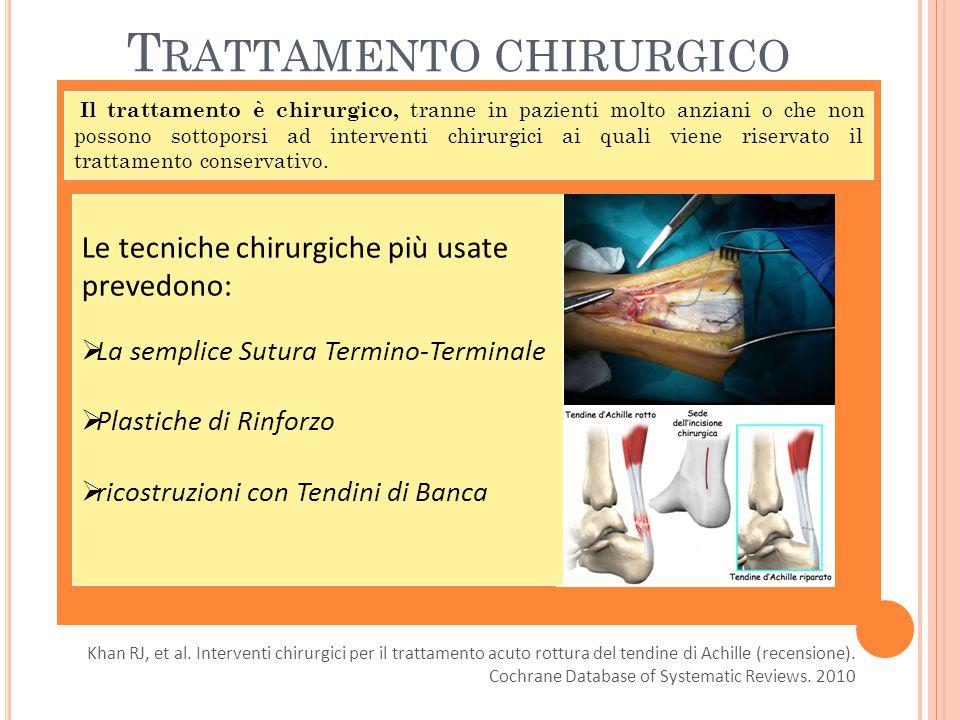 T RATTAMENTO CHIRURGICO Il trattamento è chirurgico, tranne in pazienti molto anziani o che non possono sottoporsi ad interventi chirurgici ai quali viene riservato il trattamento conservativo.