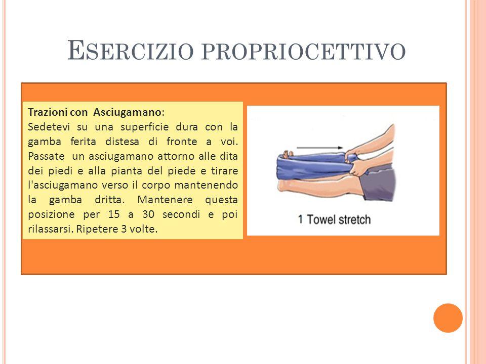 E SERCIZIO PROPRIOCETTIVO Trazioni con Asciugamano: Sedetevi su una superficie dura con la gamba ferita distesa di fronte a voi.