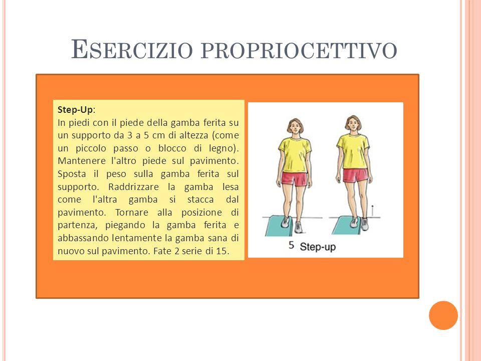 Step-Up: In piedi con il piede della gamba ferita su un supporto da 3 a 5 cm di altezza (come un piccolo passo o blocco di legno).