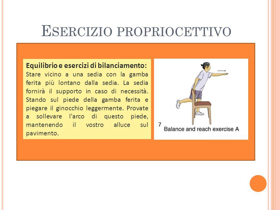 Equilibrio e esercizi di bilanciamento: Stare vicino a una sedia con la gamba ferita più lontano dalla sedia.