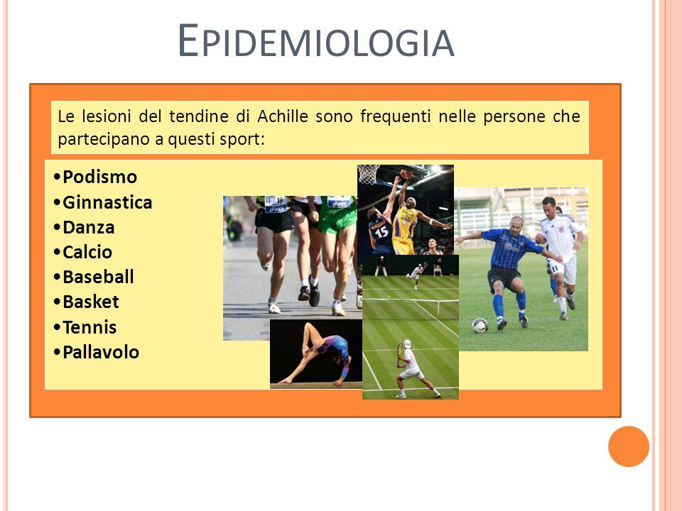 E PIDEMIOLOGIA Podismo Ginnastica Danza Calcio Baseball Basket Tennis Pallavolo Le lesioni del tendine di Achille sono frequenti nelle persone che partecipano a questi sport: