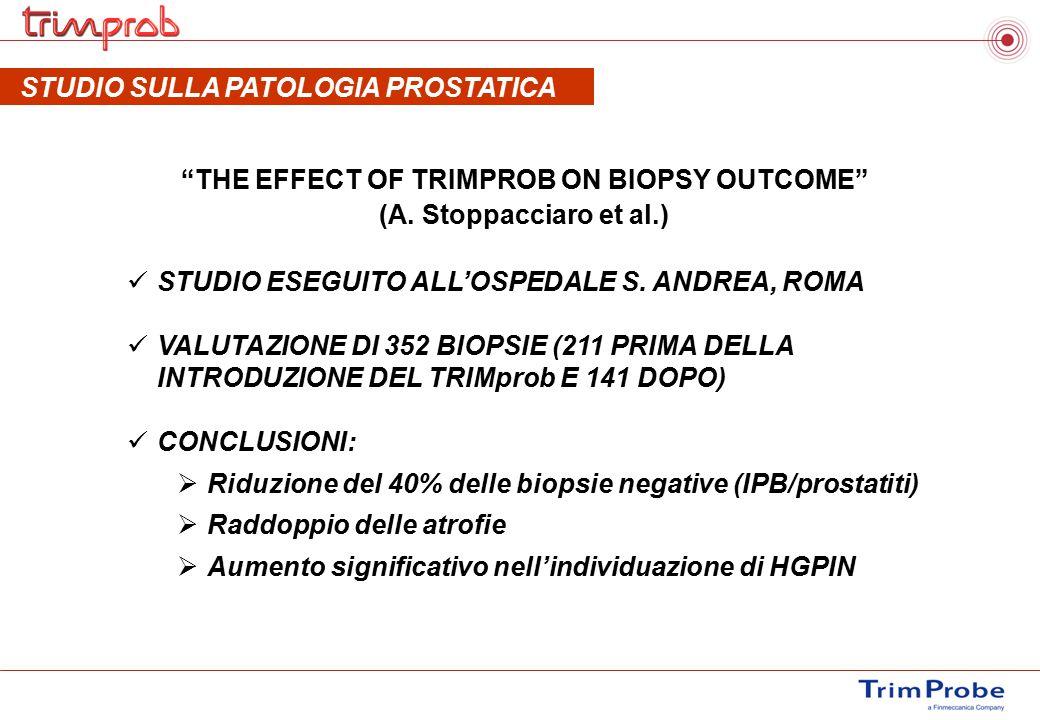 """""""THE EFFECT OF TRIMPROB ON BIOPSY OUTCOME"""" (A. Stoppacciaro et al.) STUDIO ESEGUITO ALL'OSPEDALE S. ANDREA, ROMA VALUTAZIONE DI 352 BIOPSIE (211 PRIMA"""