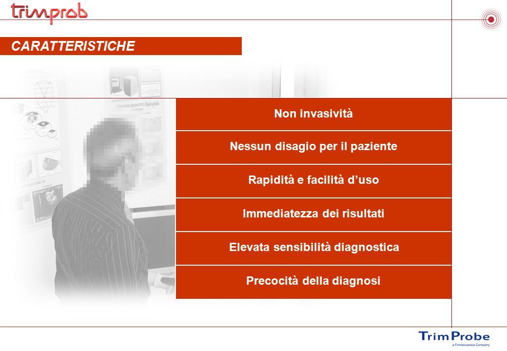 CARATTERISTICHE DELL'ESAME Non invasività Nessun disagio per il paziente Rapidità e facilità d'uso Immediatezza dei risultati Elevata sensibilità diag