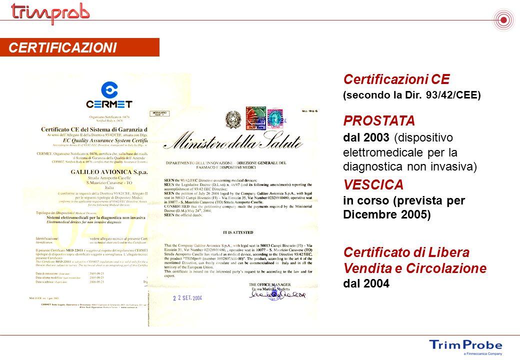 CERTIFICAZIONI Certificazioni CE (secondo la Dir. 93/42/CEE) PROSTATA dal 2003 (dispositivo elettromedicale per la diagnostica non invasiva) VESCICA i