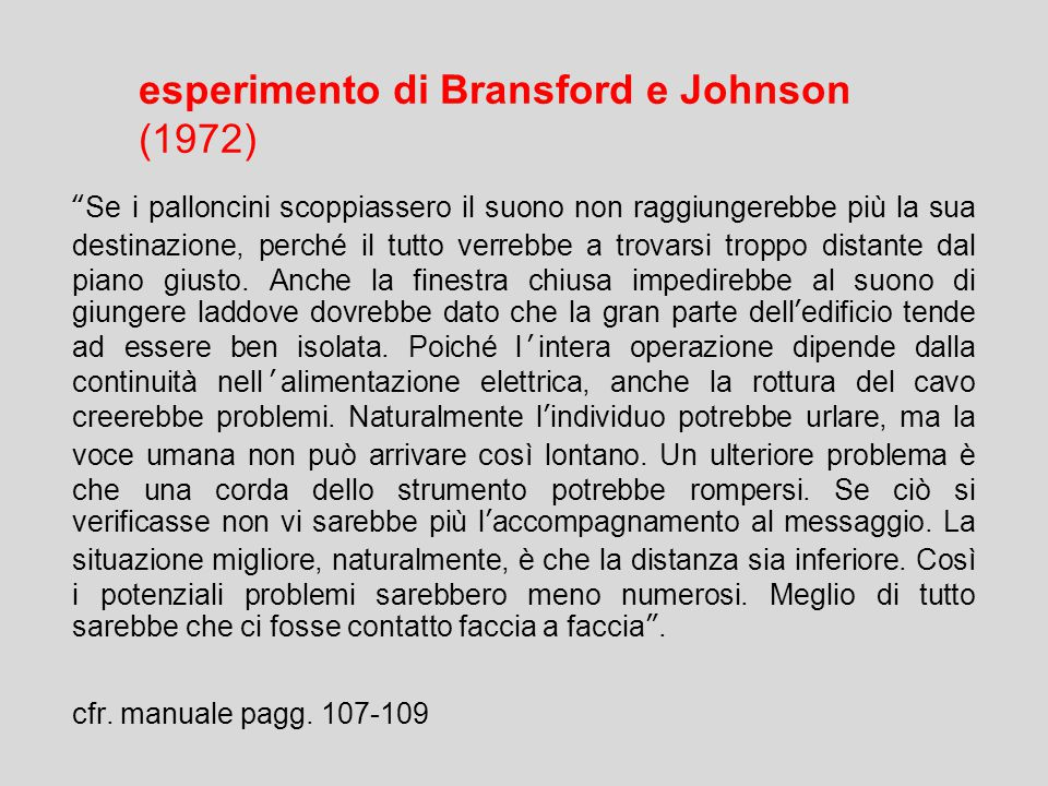 esperimento di Bransford e Johnson (1972) Se i palloncini scoppiassero il suono non raggiungerebbe più la sua destinazione, perché il tutto verrebbe a trovarsi troppo distante dal piano giusto.