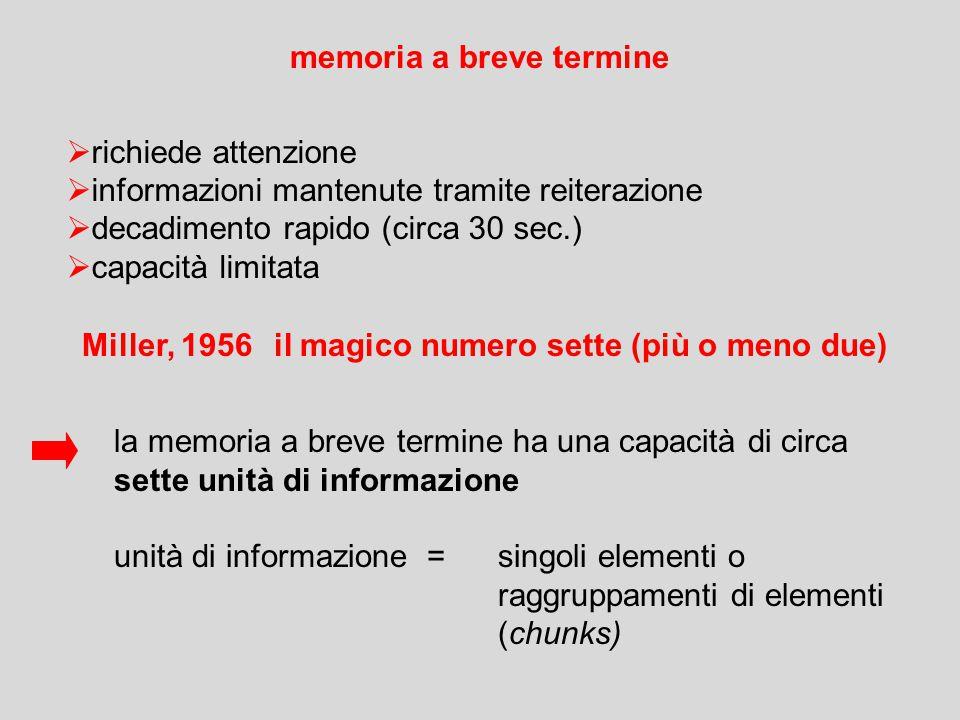 memoria a breve termine  richiede attenzione  informazioni mantenute tramite reiterazione  decadimento rapido (circa 30 sec.)  capacità limitata la memoria a breve termine ha una capacità di circa sette unità di informazione unità di informazione = singoli elementi o raggruppamenti di elementi (chunks) Miller, 1956il magico numero sette (più o meno due)