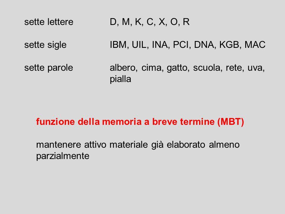 sette lettereD, M, K, C, X, O, R sette sigleIBM, UIL, INA, PCI, DNA, KGB, MAC sette parolealbero, cima, gatto, scuola, rete, uva, pialla funzione della memoria a breve termine (MBT) mantenere attivo materiale già elaborato almeno parzialmente