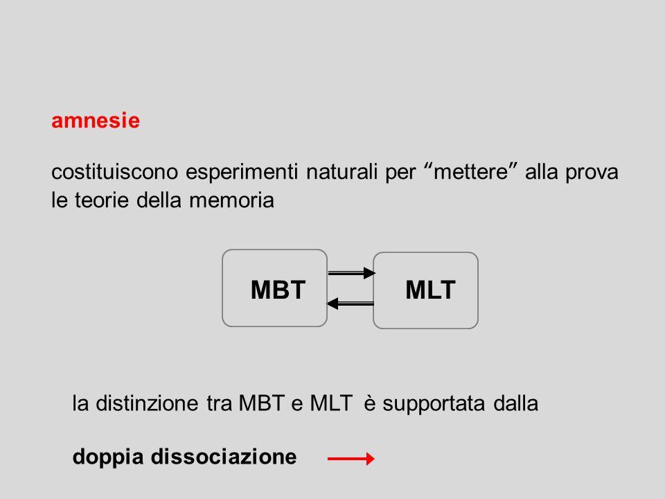 amnesie costituiscono esperimenti naturali per mettere alla prova le teorie della memoria MBTMLT la distinzione tra MBT e MLT è supportata dalla doppia dissociazione