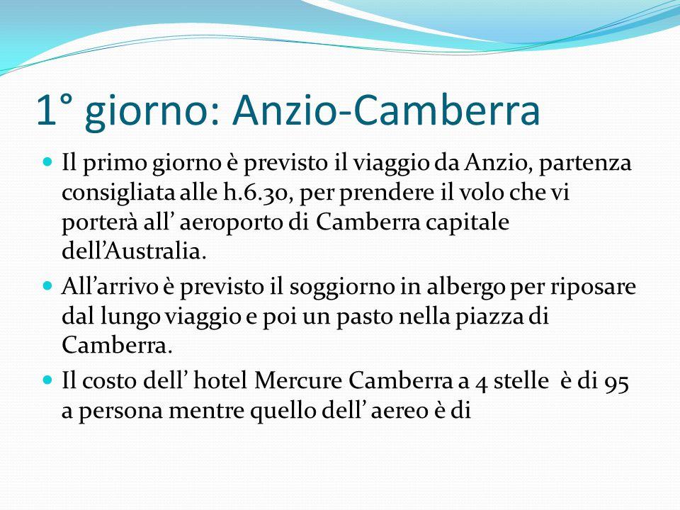 1° giorno: Anzio-Camberra Il primo giorno è previsto il viaggio da Anzio, partenza consigliata alle h.6.30, per prendere il volo che vi porterà all' aeroporto di Camberra capitale dell'Australia.